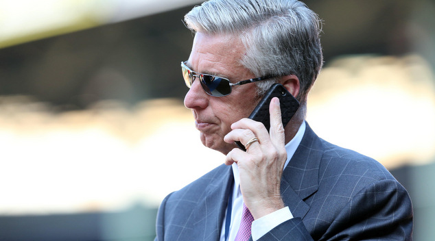 Jul 5, 2016; Boston, MA, USA; Boston Red Sox president of baseball operations Dave Dombrowski speaks on the phone prior to a game against the Texas Rangers at Fenway Park. Mandatory Credit: Mark L. Baer-USA TODAY Sports